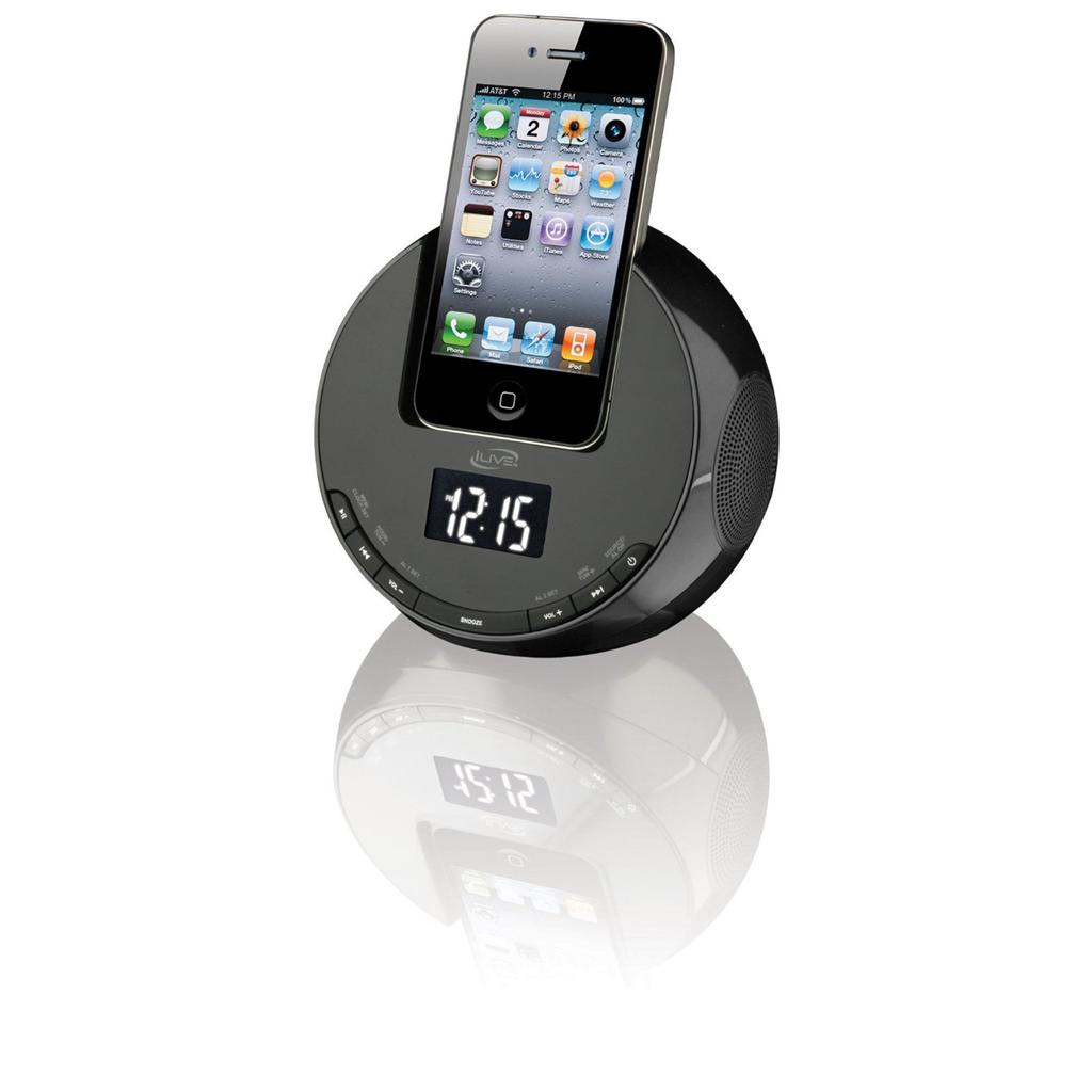 ilive ipod dock alarm clock radio iphone 3gs 4 charger 10 presets w audio line ebay. Black Bedroom Furniture Sets. Home Design Ideas