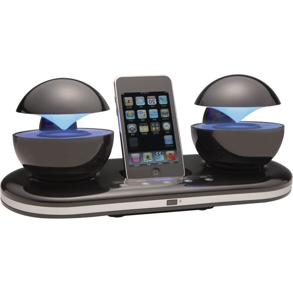 speakal icrystal docking station speakers for ipod iphone 4 with touch control ebay. Black Bedroom Furniture Sets. Home Design Ideas