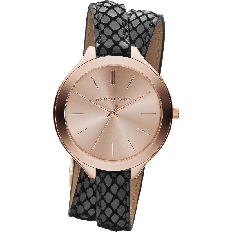 MICHAEL KORS SLIM LEATHER WRAP AROUND DOUBLE STRAP ROSE