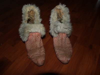 Vintage Antique Womens Dress Bedroom Slippers Fur Pink 8 1920 39 S Sexy Heels Shoes Ebay