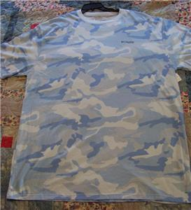 Columbia sportswear tshirt 4xl blue camo fish logo for 4xl fishing shirts