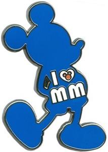 SILHOUETTE Standing MICKEY MOUSE I LOVE HEART MM DISNEY PIN