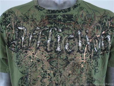 AFFLICTION T Shirt Medium Made in USA Winged Fleur De Lis Military
