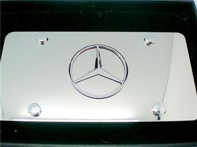 Mercedes benz metal chrome polished steel license plate for Mercedes benz license plate logo