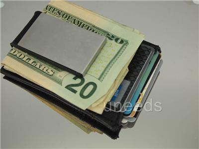 New Magnetic Black Leather Money Clip ID Wallet Business Credit Card Holder Gift