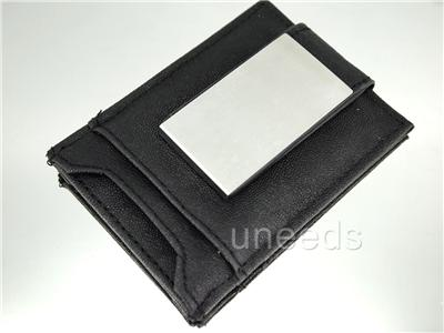 NEW Magnetic Black Leather Money Clip ID Wallet Business Credit Card
