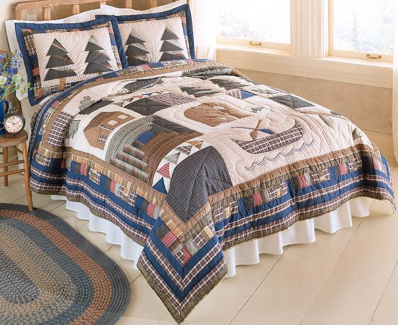 Bear Cabin Rustic Lodge Country King Quilt Bedding Set
