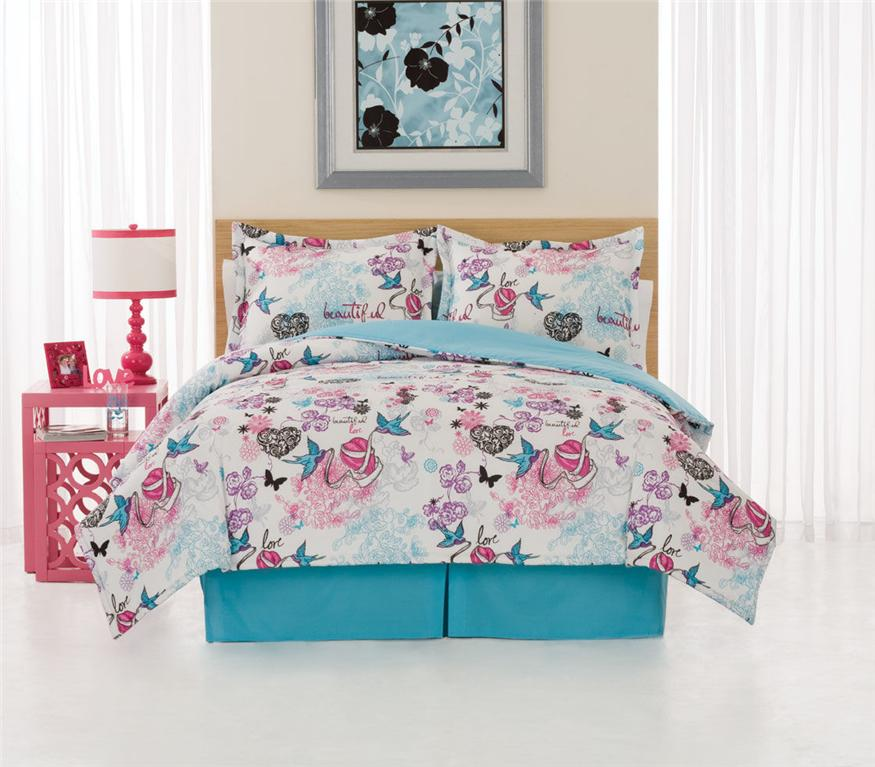 Turquoise pink tattoo queen comforter bedding bed set ebay for Tattoo bedding queen