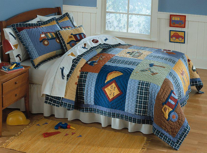 Boy construction truck twin quilt bedding kid bed set ebay - Dump truck twin bed ...