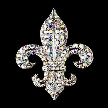 Fleur De Lis AB Crystal Bridal Brooch Comb Cake Brooch
