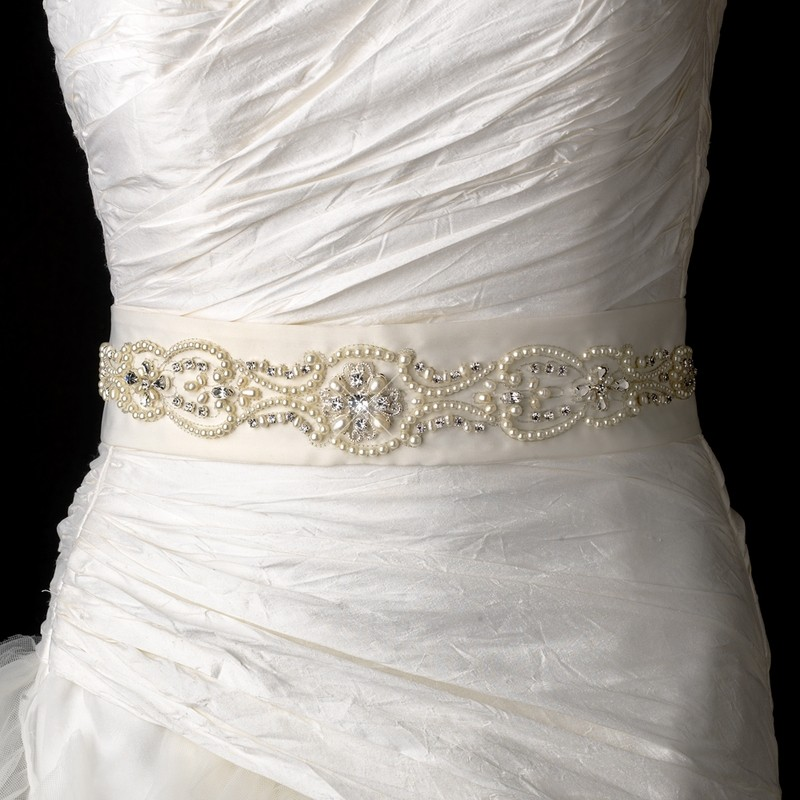 Pearl-amp-Rhinestone-Beaded-Bridal-Belt-White-Or-Ivory