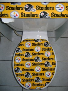 Nfl Pittsburgh Steelers Golden Fabric Toilet Seat Lid