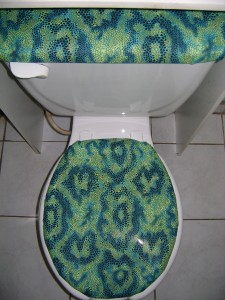 Green Blue Snake Skin Print Fabric Toilet Seat Cover Set