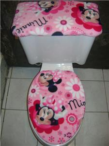Minnie Mouse Flowers ON Pink Fleece Elongated Fabric Toilet Seat Cover SET