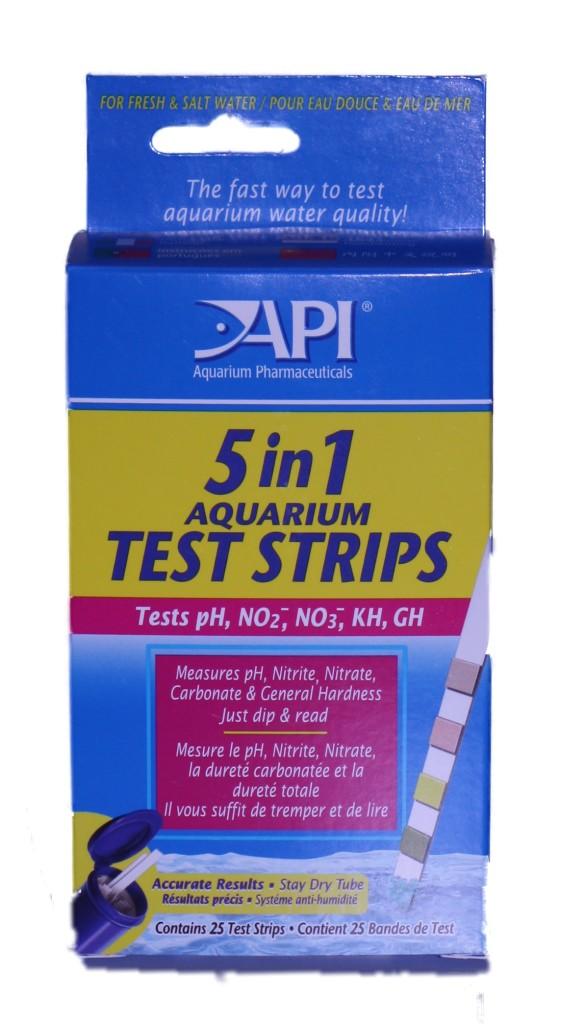 Api aquarium fish 5 in 1 test strips kit ph nitrate for Fish tank test strips