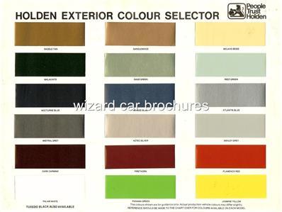 1978 Holden Paint Colour Chart Brochure Ebay