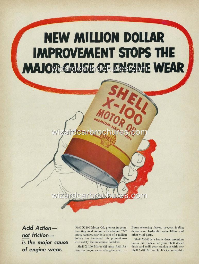 1952-SHELL-X-100-MOTOR-OIL-A3-POSTER-AD-SET-OF-2-ADVERTISEMENT-ADVERT