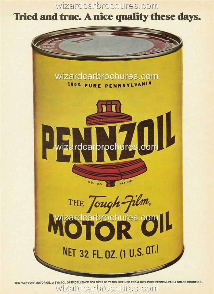 1973 pennzoil motor oil a3 poster ad sales brochure mint for Sales on motor oil