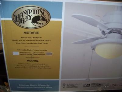 Hampton Bay Metarie 24 in Ceiling Fan White
