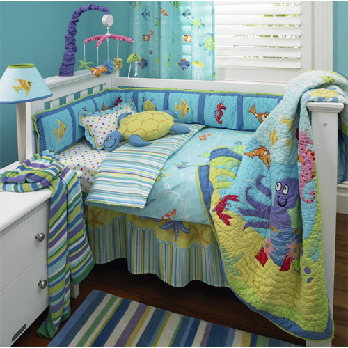 Reef 4pc crib set freckles nursery bedding fish beach ebay for Fish crib bedding