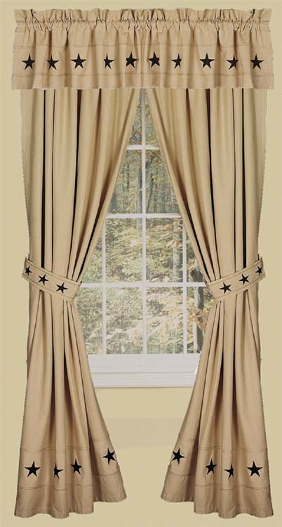 Danville Star 2 Curtain Window Panels Primitive Country Nutmeg/Creme ...