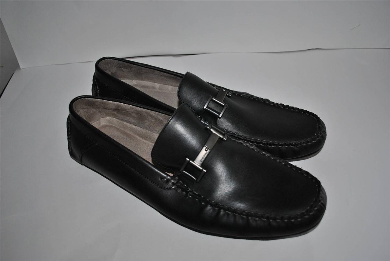 ck calvin klein mens dolan black leather slip on loafers