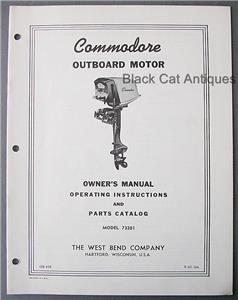 1961 West Bend Commodore 7 5hp Outboard Motor Owner Manual
