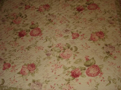 Queen Size Quilt on Queen Size Shabby Cottage Style Pink Green Floral Quilt   Ebay