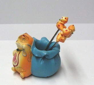 Maneki neko lucky cat fruit picker toothpick holder money bag ebay - Toothpick holder for purse ...