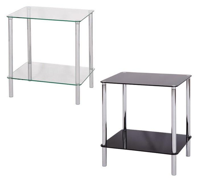 2 TIER SQUARE BLACK OR CLEAR GLASS SIDE LOUNGE, HALLWAY