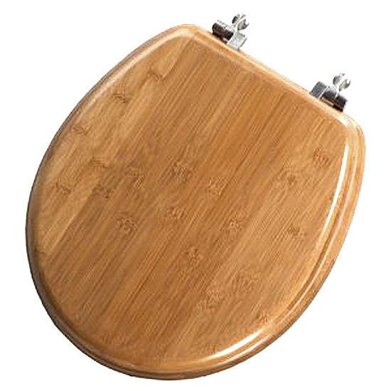 BEMIS DARK BAMBOO WOODEN TOILET SEAT WITH CHROME PLATED HINGES EBay
