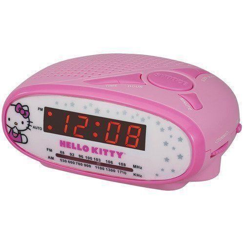kids hello kitty pink lcd digital am fm radio alarm clock girls. Black Bedroom Furniture Sets. Home Design Ideas