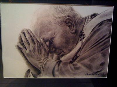 Pope John Paul II Portrait, Charcoal Pencil Drawing