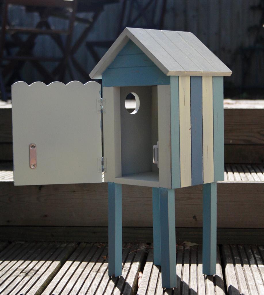Wooden Beach Hut Bathroom Storage Cabinet Nautical Themed