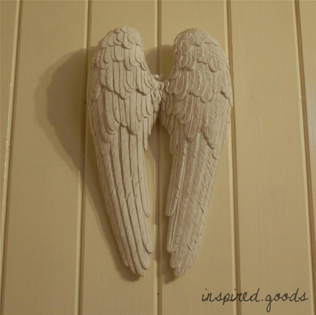 Pair of hanging antique white angel wings cherub wall art for Angel wall decoration