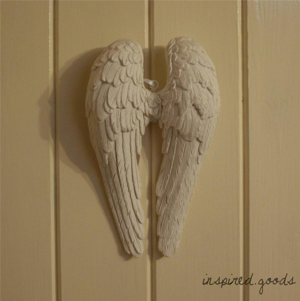 Pair of hanging antique white angel wings cherub wall art for Angel wings wall decoration