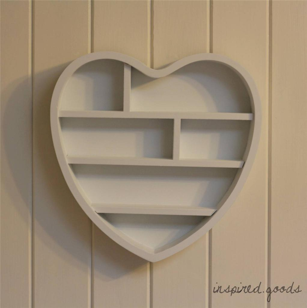WOODEN HEART SHAPED WALL SHELF SHABBY CHIC STORAGE DISPLAY UNIT ...