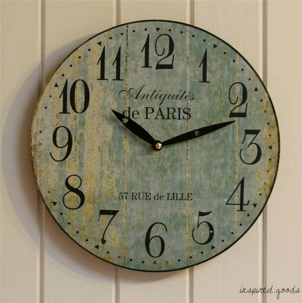 french country style wooden paris kitchen wall clock