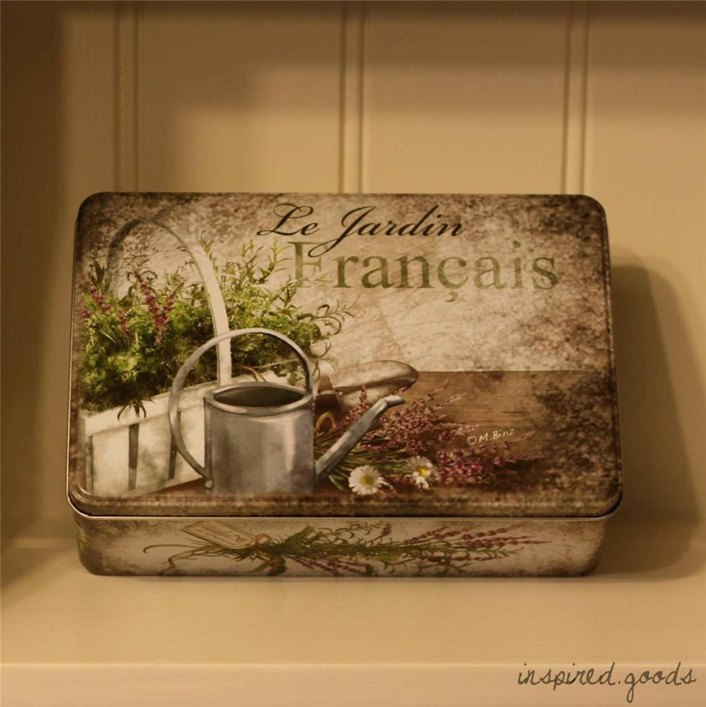 French Style Storage Tin Vintage Tea Caddy Lunch Box