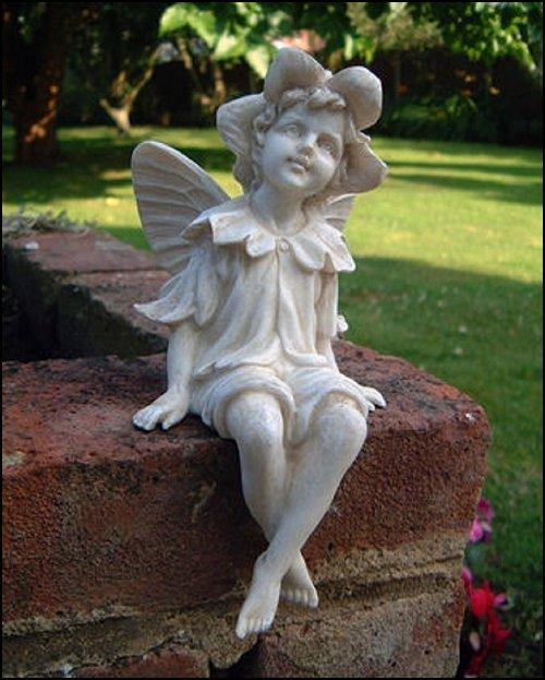 Sitting Fairy Garden Ornament Cherub Angel Statue Stone