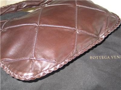 AUTH BOTTEGA VENETA BROWN NAPA LEATHER HOBO HANDBAG