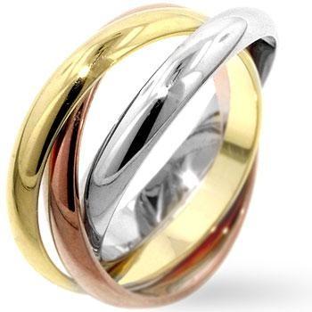three tone russian wedding band rolling ring