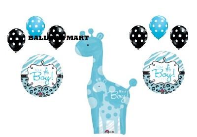 Boy Baby Shower Balloons Giraffe Polka Dot Black Blue Decorations Supplies New