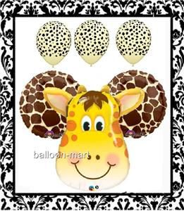 6 balloons giraffe party supplies decorations baby shower for Animal print baby shower decoration ideas