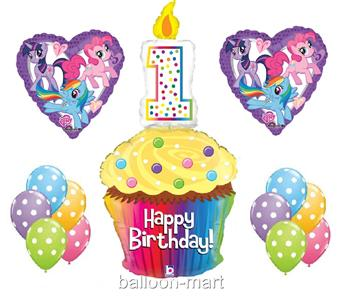 1ST MY LITTLE PONY BALLOONS birthday party supplies cupcake candle ...