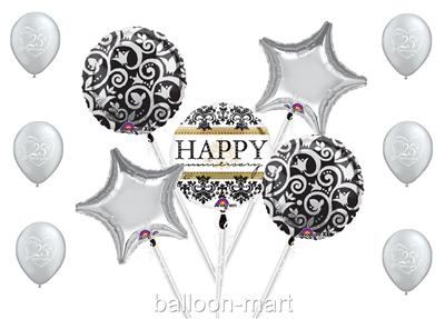 happy 25th anniversary balloons silver party supplies. Black Bedroom Furniture Sets. Home Design Ideas