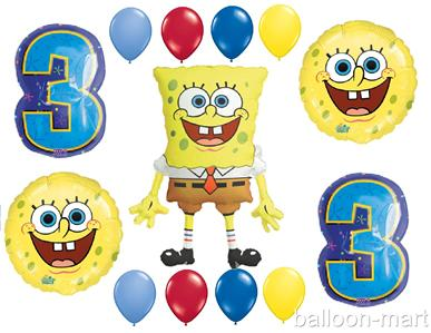 Spongebob party supplies balloons third 3rd birthday age for Number 3 decorations