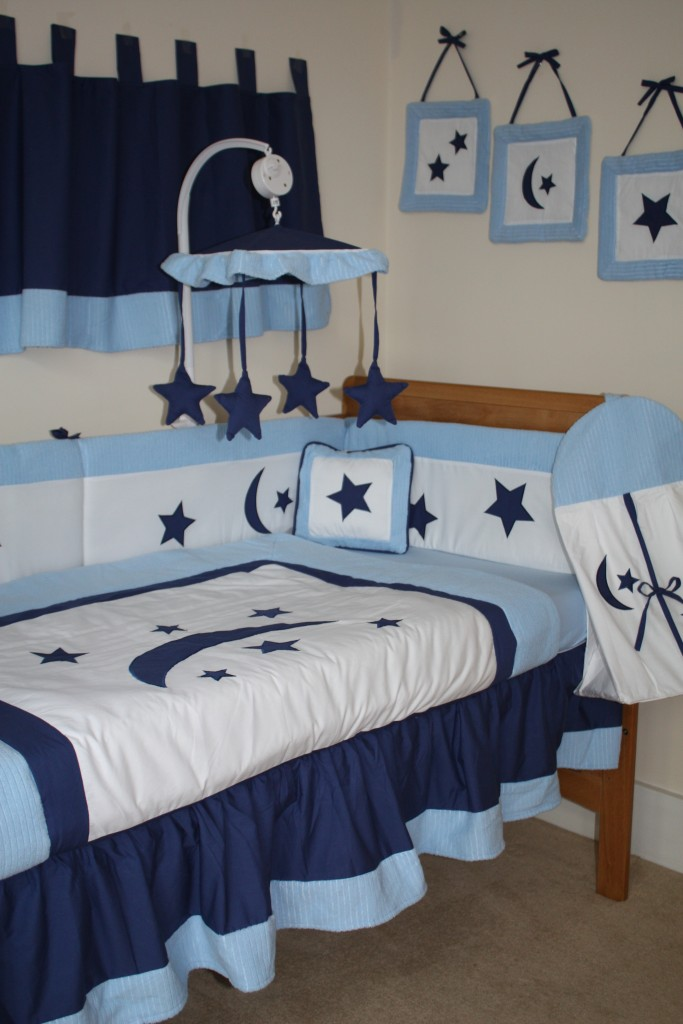 NEW 12pcs Blue Baby Bedding Set Cotbed Cot Nursery STARS MOON Quilt