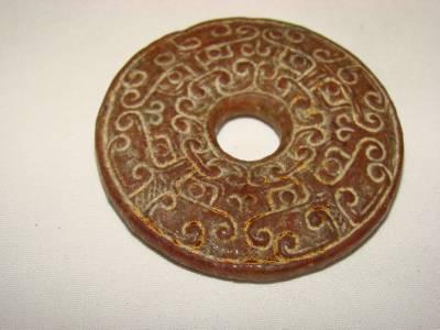 古董古董中国玉石雕刻在木头盒子吊坠