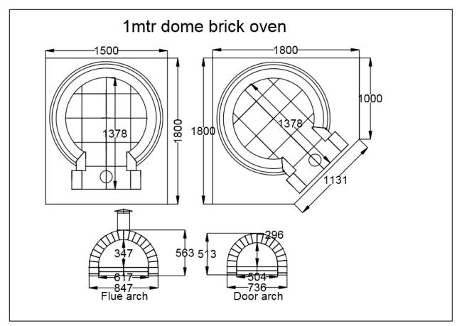 Pizza Oven Brick Dome 1 Metre Outdoor Woodfired Wood Fire